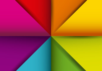 Multicolored, Diagonally Divided Squares Pattern with Drop Shadow