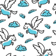 Seamless pattern with pegasus and clouds. Cute little cartoon mythical beast. Yellow griffin with clouds and feathers