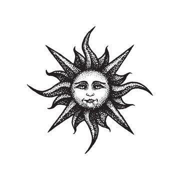 vector hand drawn sun illustration.