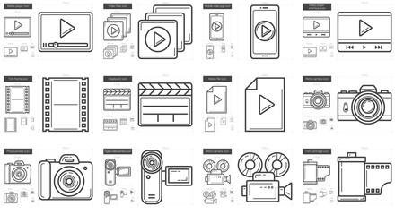 Media line icon set.