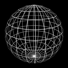 3D Sphere Mesh with White Edge Lines 3D Illustration