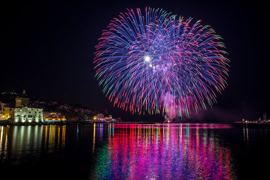 Colorful fireworks of various colors over night sky / special night with special fireworks