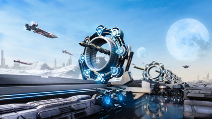 3d rendering Scifi fantasy concept cityscape and transport in the future