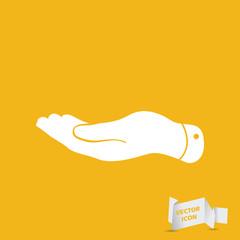 flat hand icon - vector illustration