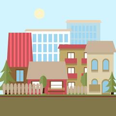 Flat design urban landscape day vector illustration