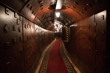 Old bunker during the Cold War. Corridor in the anti-nuclear bomb shelter