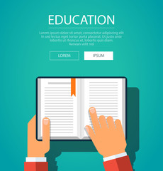 Hands with book. Knowledge education flat concept. Vector illustration