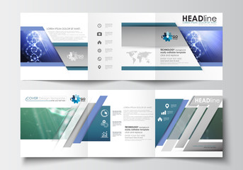 Business templates for tri-fold brochures. Square design. Leaflet cover, abstract flat layout, easy editable vector. DNA molecule structure, science background. Scientific research, medical technology