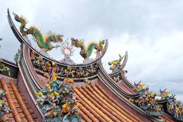 Dragon sculpture on rooftop of Guandu Temple in Taipei, Taiwan
