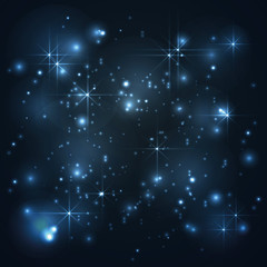 Universe, galaxy with stars in blue background, abstract vector