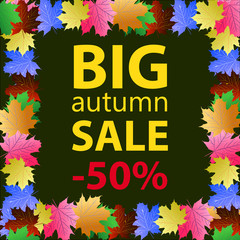 Big autumn sale design template poster.