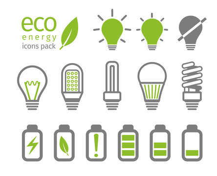 Eco light bulb and battery icon set. Vector illustration