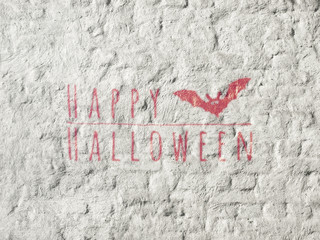 Happy Halloween banner. Greeting lettering on the old fence. Horizontal banner with a bat. Red paint and white lime wall texture. Realistic 3d illustration. Design template. Modern style.