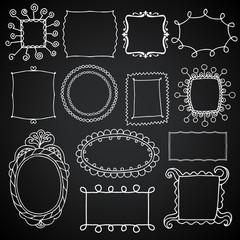 Vintage photo frames set, chalkboard vector design elements