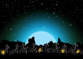 Graveyard halloween background vector illustration