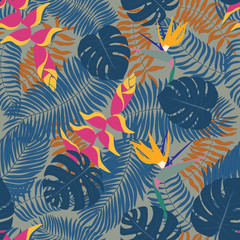 Seamless pattern with hand-drawn tropical leaves and flowers