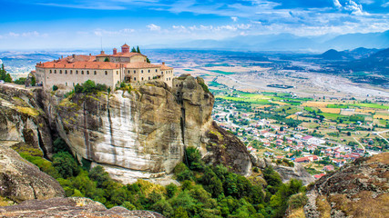 view of a monastery at Meteora, Greece