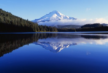 Trillium Lake With Reflection Of Mount Hood, Mount Hood National Forest