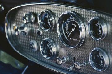 Dashboard Of An Antique Car