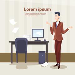 Business Man Office Interior Desk Stacked Paper Document Paperwork Flat Vector Illustration