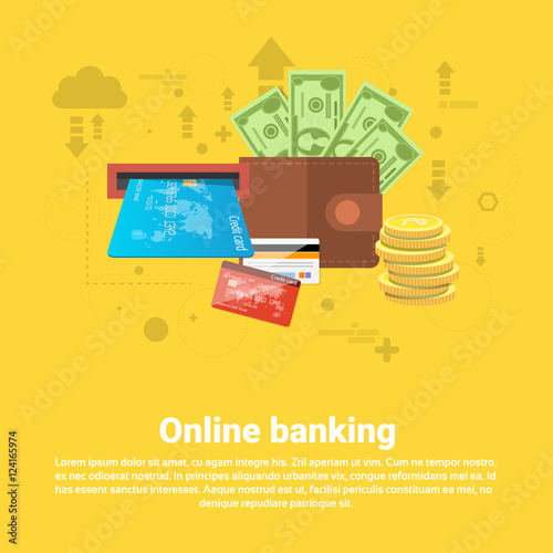 """Financial Online Banking Business Web Banner Flat Vector ..."