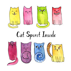 Watercolor doodle cat illustration. Set of smiling, thoughtful, modest, contemptuous, interested, crazy, laughing, joyful, astonished cats