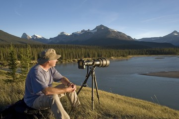 Photographer Enjoys The View Banff National Park Banff Alberta Canada