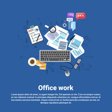 Office Paper Document Work Business Web Banner Flat Vector Illustration