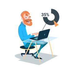 Business Man Sitting Desk Work Laptop Computer Flat Vector Illustration