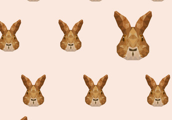 Polygonal Rabbit Face Icon Pattern