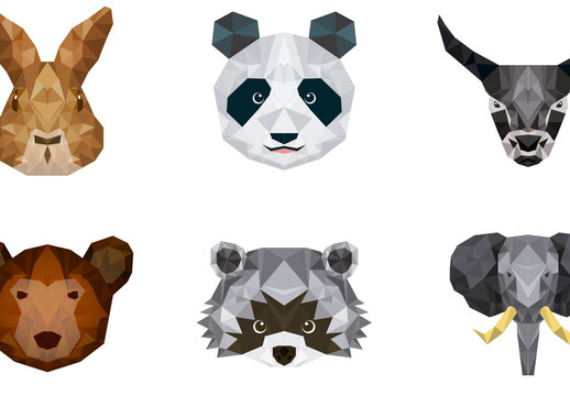 9 Polygonal Animal Face Icons