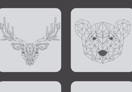 4 Polygonal (Outline Only) Wild Animal Icons