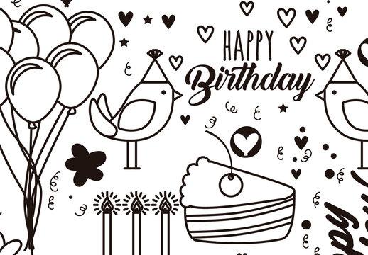 Black and White Cartoon Style Birthday Greeting