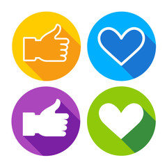 Colorful Icon Set Heart Shape Thumb Up Collection Vector Illustration