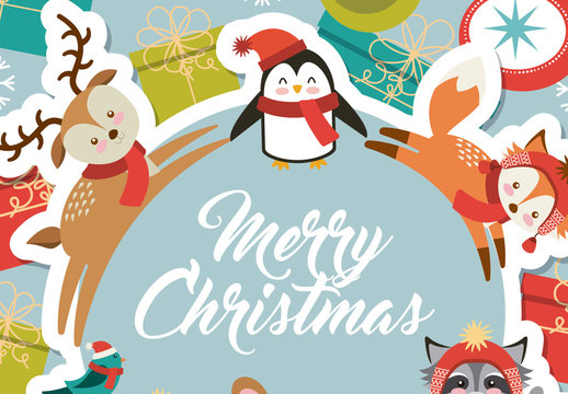 Cute Animal Christmas Greeting on a Gift and Ornament Background