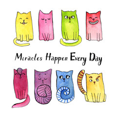 Watercolor doodle cat illustration.Set of smiling, thoughtful, modest, contemptuous, interested, crazy, laughing, joyful, astonished cats