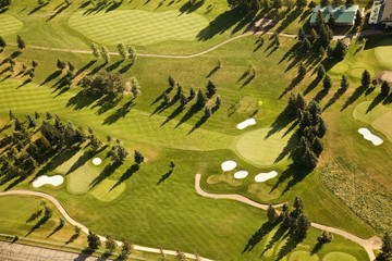 Aerial View Of Golf Course With Sand Traps