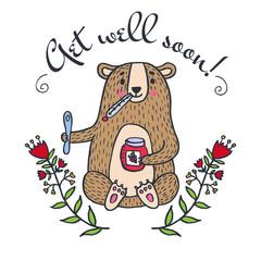 Get well soon card with teddy bear and jam
