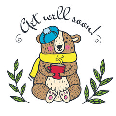 Get well soon card with teddy bea
