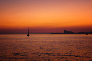 Sunset over the Mediterranean Sea, St. Cyr sur Mer, France, 2011