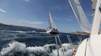 Wall Mural - Sailing race. Yachting in the Aegean sea. Luxury yacht.