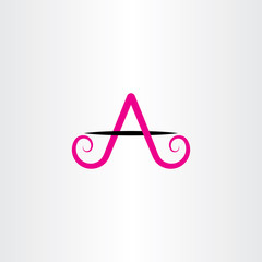 magenta black a letter icon vector sign