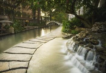 San Antonio, Texas, United States Of America; Waterfalls Along The Riverwalk