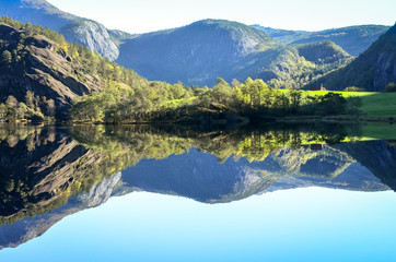 perfect reflection of mountains in fjord water