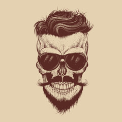 Hipster skull with sunglasses, mustache and beard