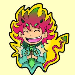 sticker. joyful, happy little demon claps her hands, smiling