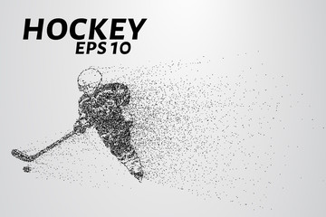 Hockey from the particles. Hockey consists of small circles. Hockey player breaks down into molecules. Vector illustration
