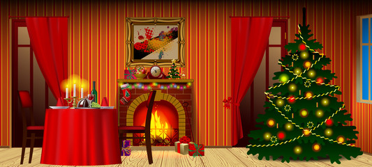 Holiday interior with fireplace, gifts and christmas tree