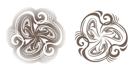 Set of medieval ornaments,  black and white vector image.