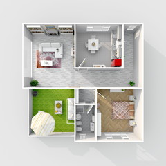 3d interior rendering of square furnished home apartment
